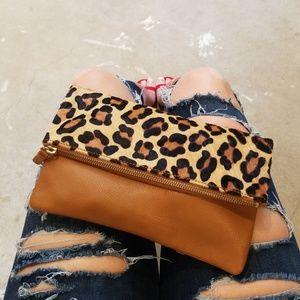 Gap Leather Leopard Envelope Clutch Bag